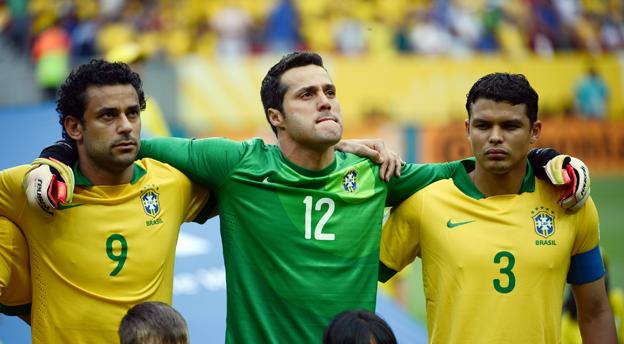 Família Scolari: Fred, Jùlio César und Thiago Silva (v.l.n.r.) bilden mit David Luiz den Kern der Seleção